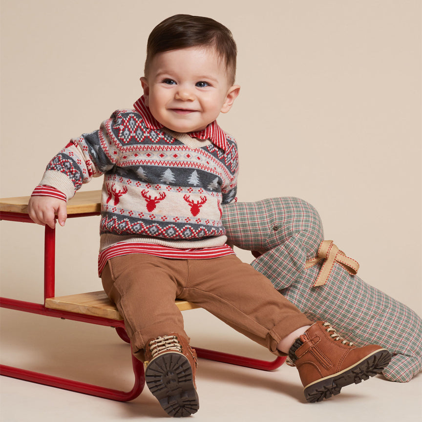 Fair Isle Stags V-Neck Baby Sweater