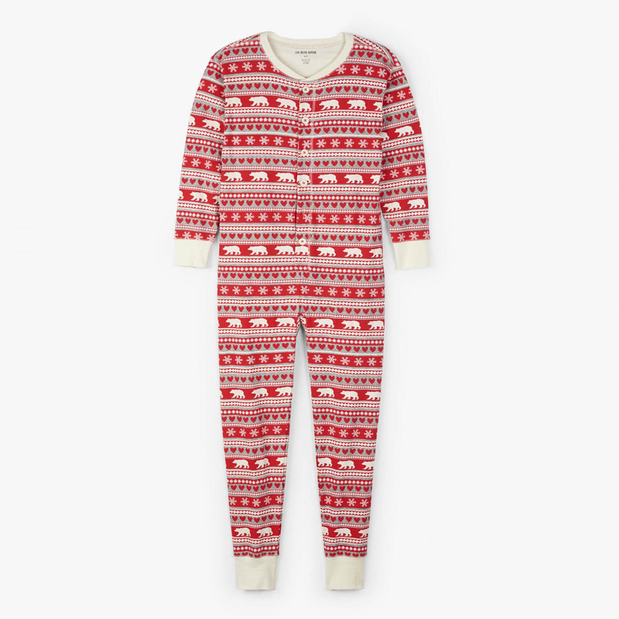 Fair Isle Bear Adult Union Suit-Little Blue House-Joanna's Cuties