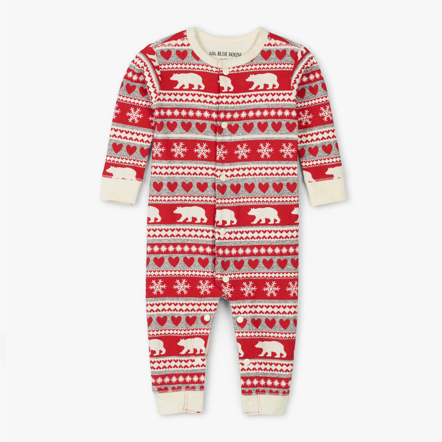 Fair Isle Bear Baby Union Suit - Little Blue House - joannas-cuties