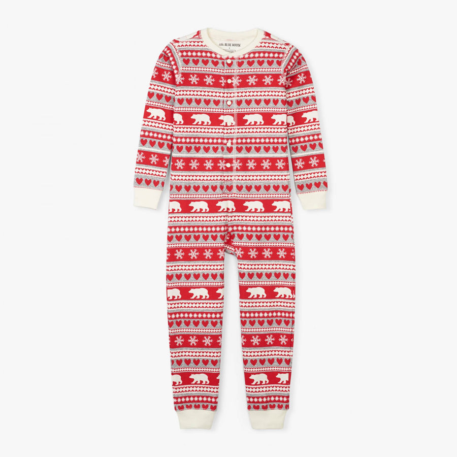Fair Isle Bear Kids Union Suit - Little Blue House - joannas-cuties