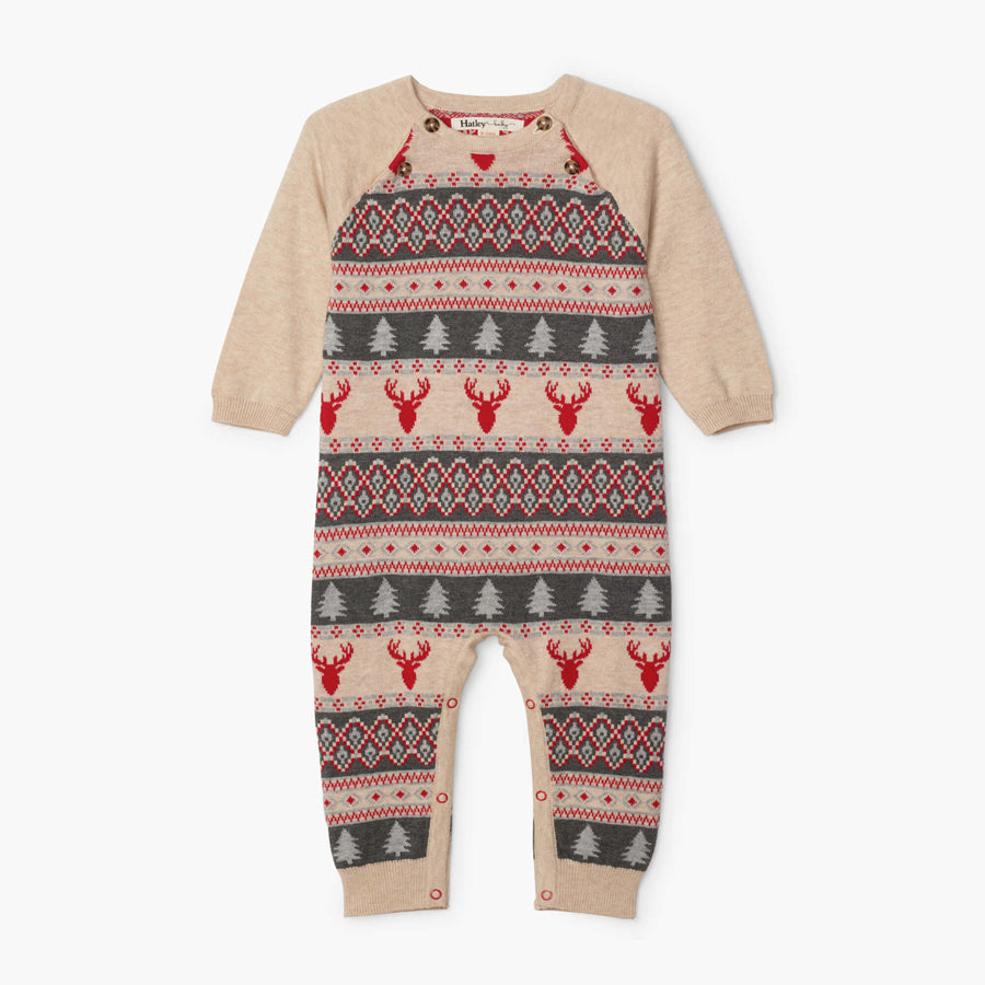 Fair Isle Stags Baby Sweater Romper