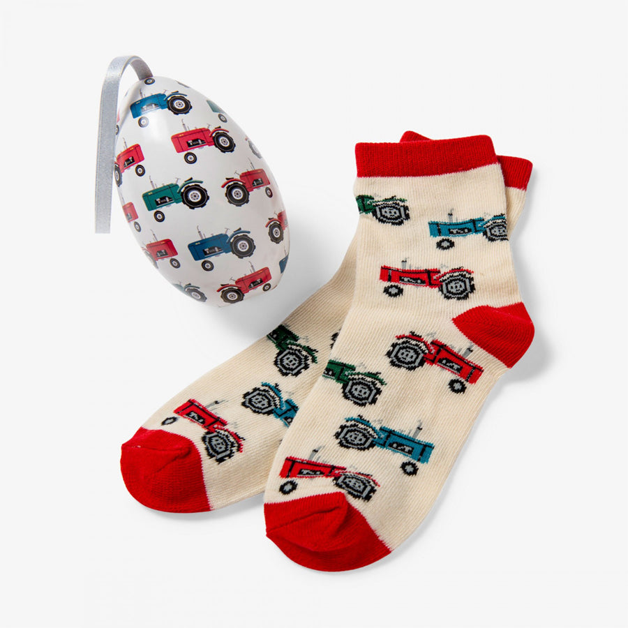 Farm Tractors Kids Socks In Eggs-Little Blue House-Joanna's Cuties