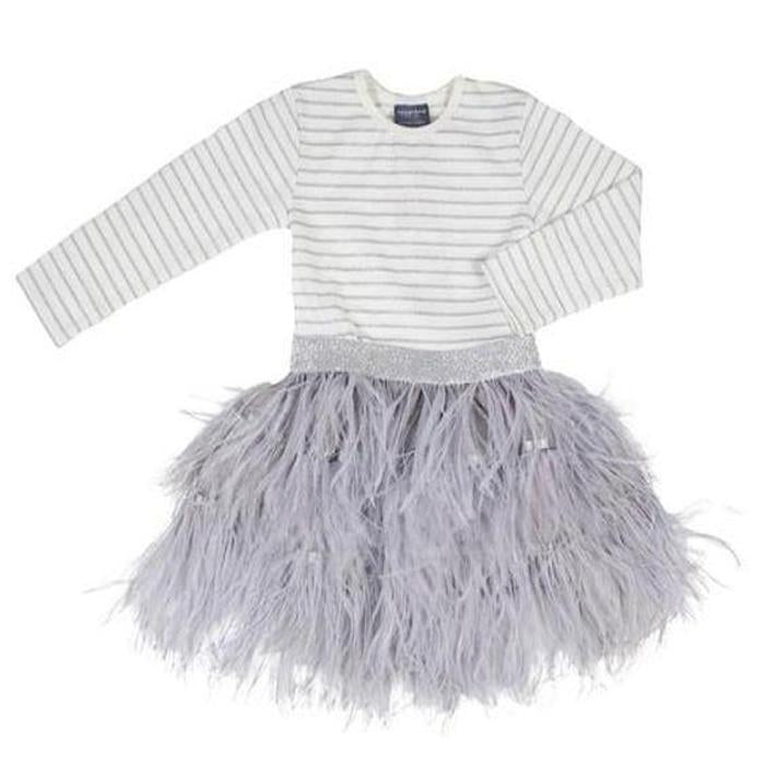 Feather Dress - Grey, Toobydoo - Joanna's Cuties