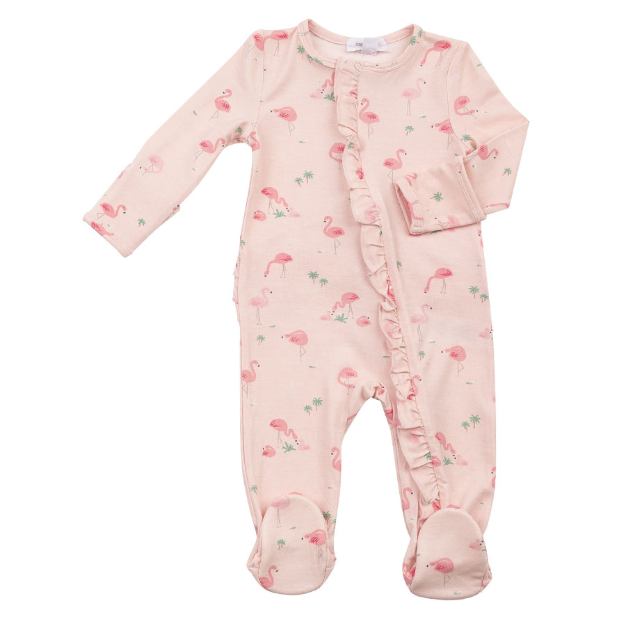 Flamingos Ruffle Front Zipper Footie-Angel Dear-Joanna's Cuties