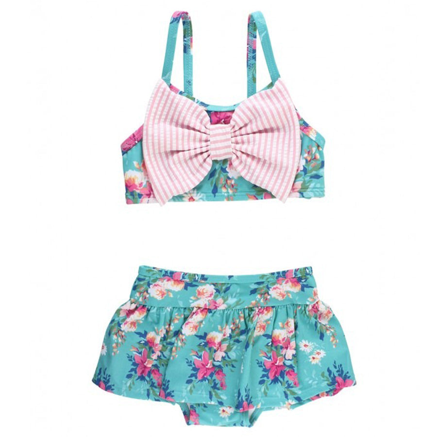 Fancy Me Floral Bow Skirted Bikini-Ruffle Butts-Joanna's Cuties