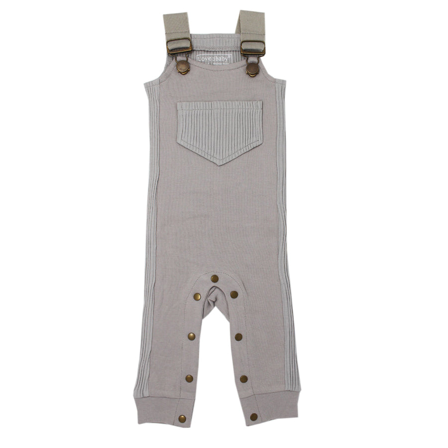 Footless Ribbed Overall in Light Gray