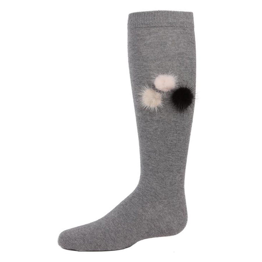 Fuzzy And Fun Girls Pompom Knee Socks - Medium Gray