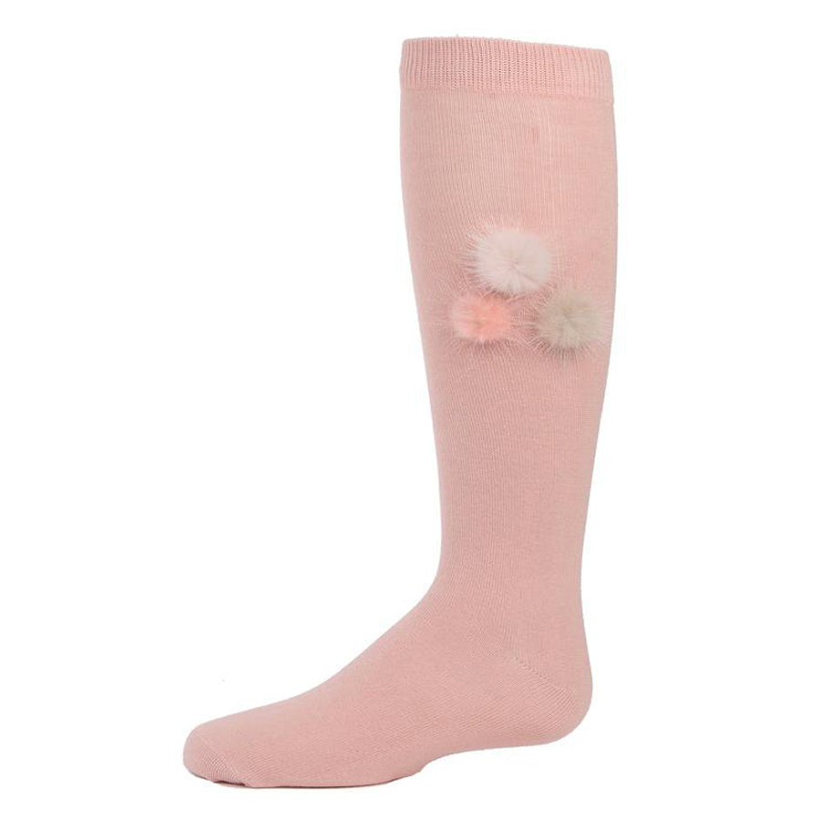 Fuzzy And Fun Girls Pompom Knee Socks - Blush