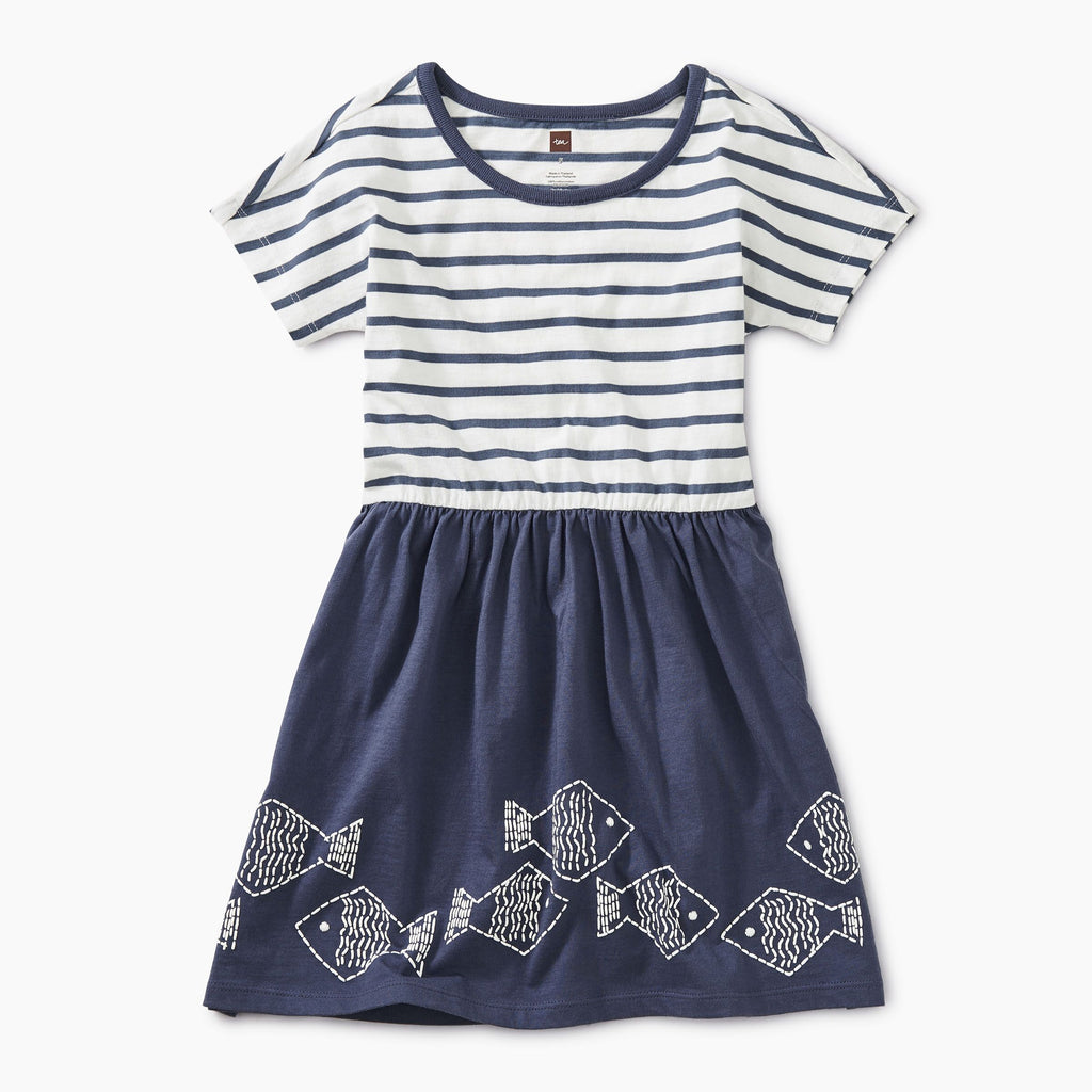 Geo Fish Graphic Twirl Dress - Tea - joannas-cuties
