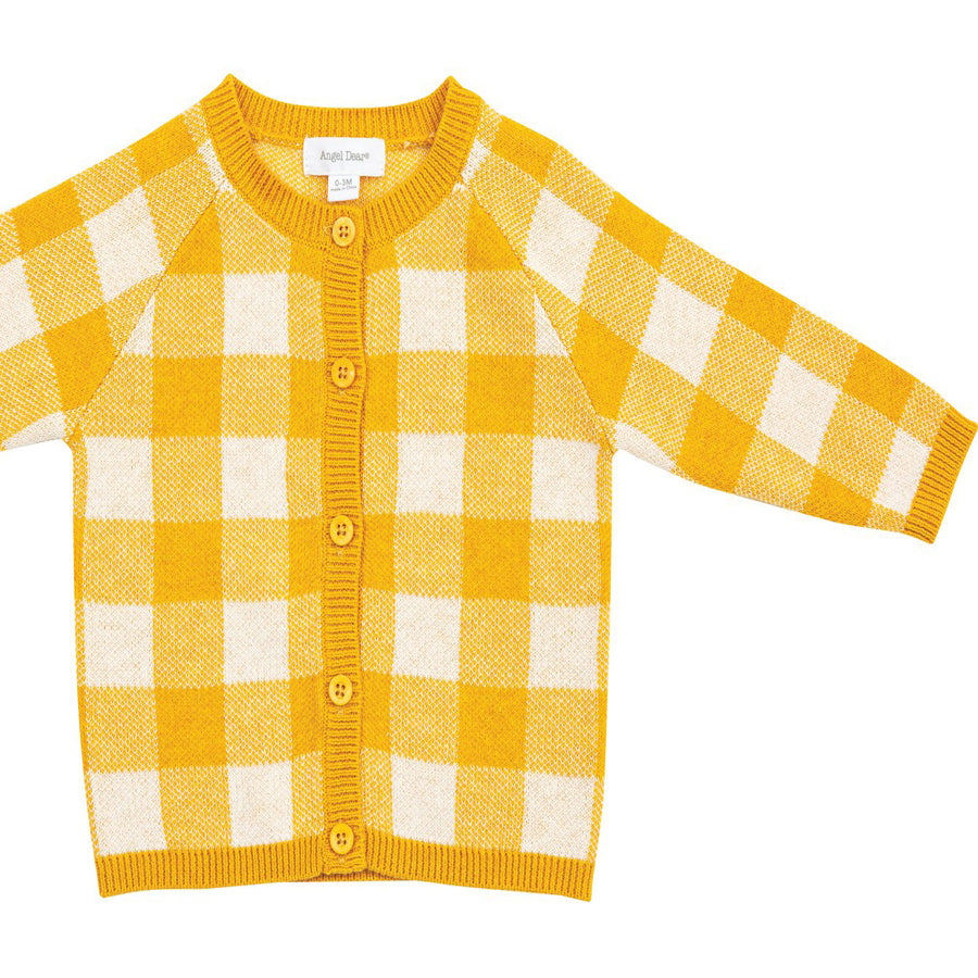 Gingham Cardigan - Mustard-Angel Dear-Joanna's Cuties