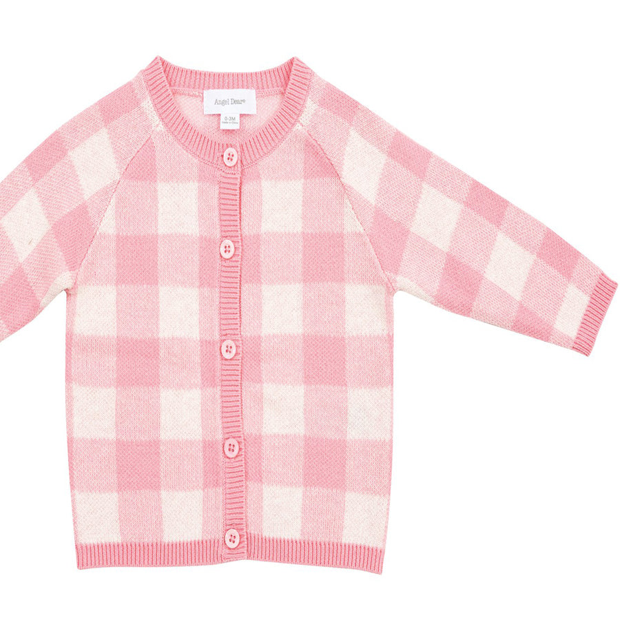 Gingham Cardigan - Pink-Angel Dear-Joanna's Cuties