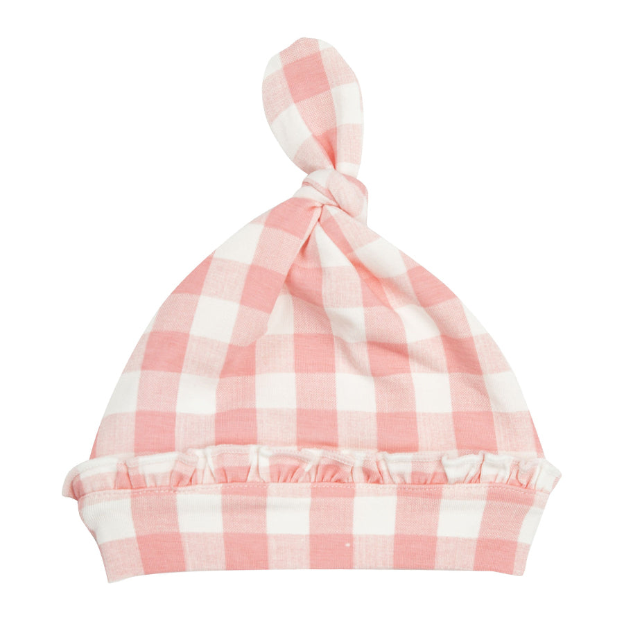 Knotted Hat - Gingham Pink-Angel Dear-Joanna's Cuties