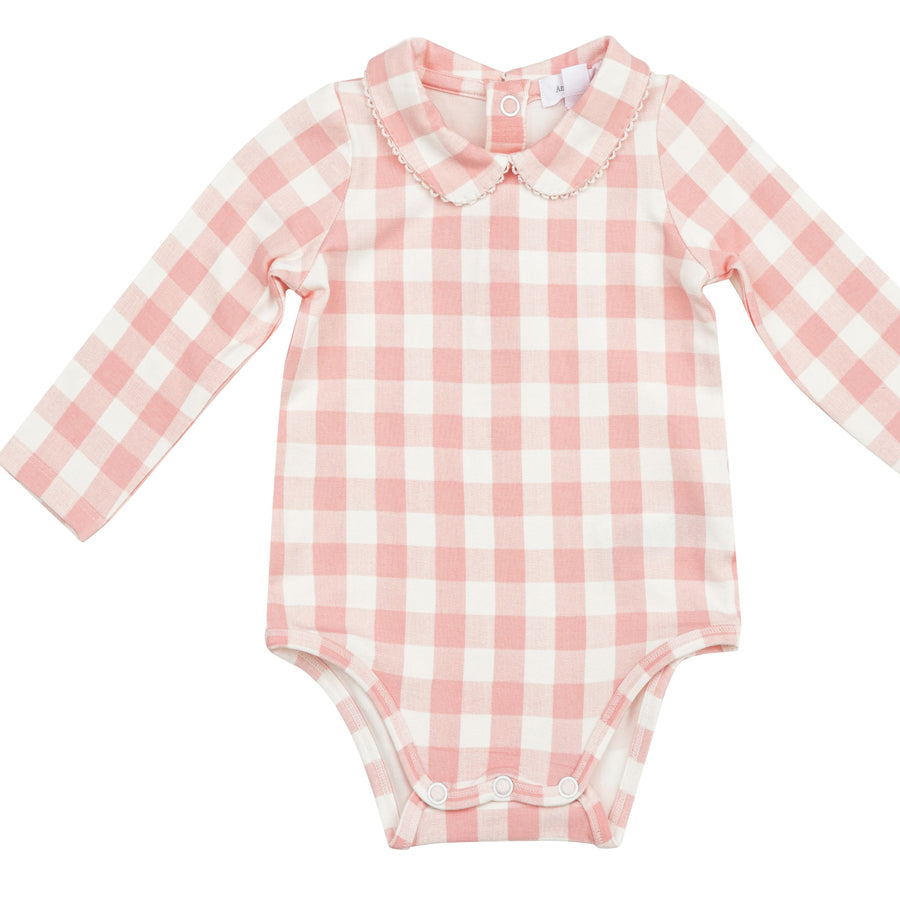 Gingham Pink Peter Pan Collar Bodysuit-Angel Dear-Joanna's Cuties