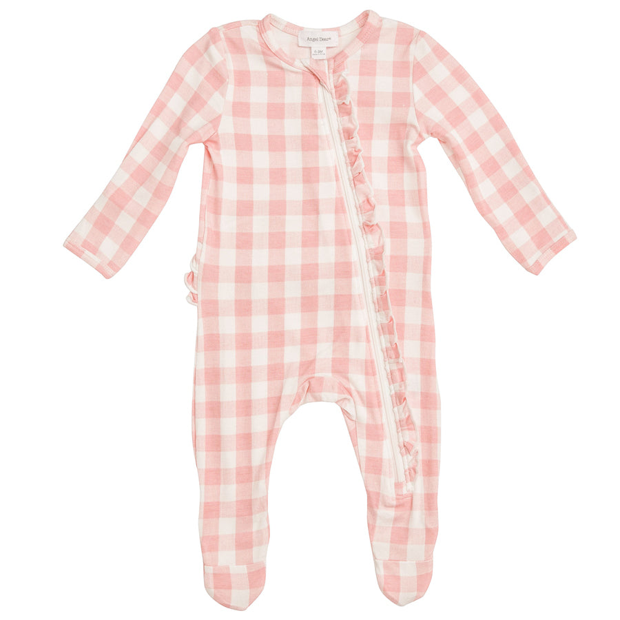 Gingham Pink Zipper Footie-Angel Dear-Joanna's Cuties