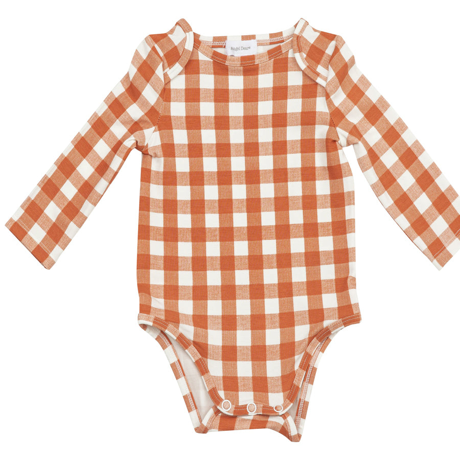 Gingham Pumpkin Lap Shoulder Onsie-Angel Dear-Joanna's Cuties