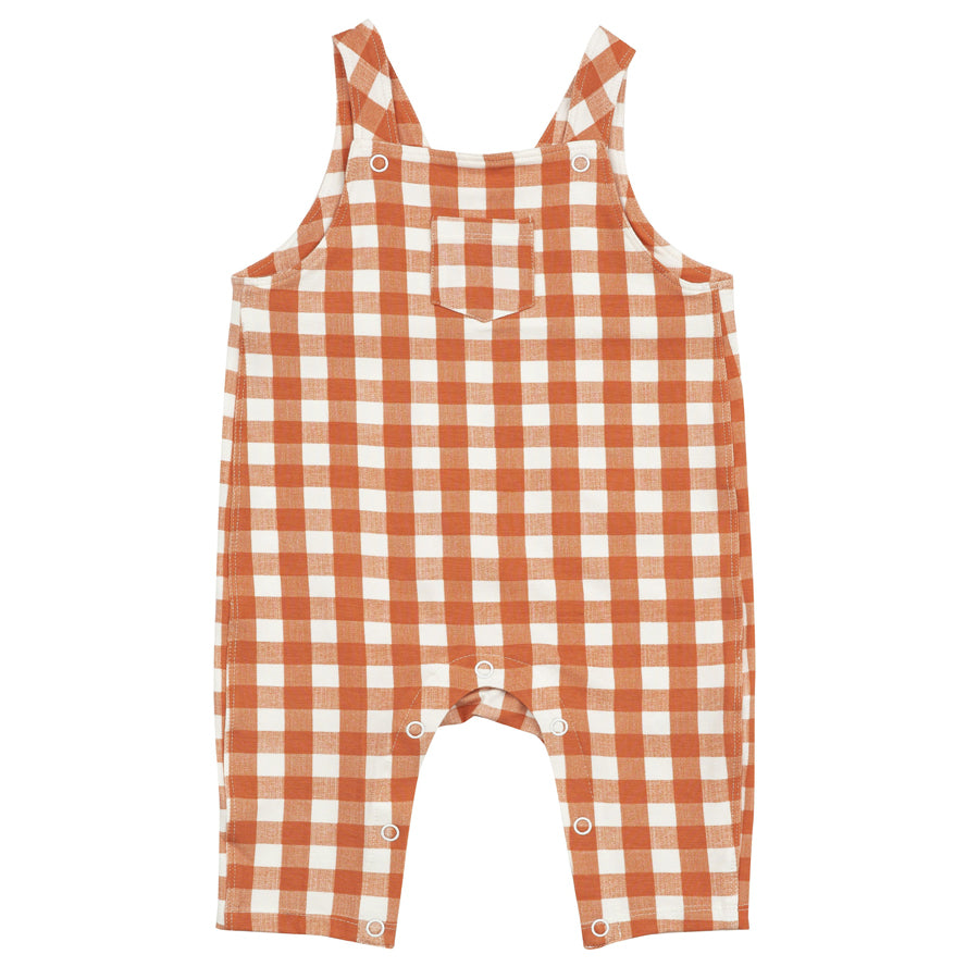 Gingham Pumpkin Pocket Coveralls-Angel Dear-Joanna's Cuties