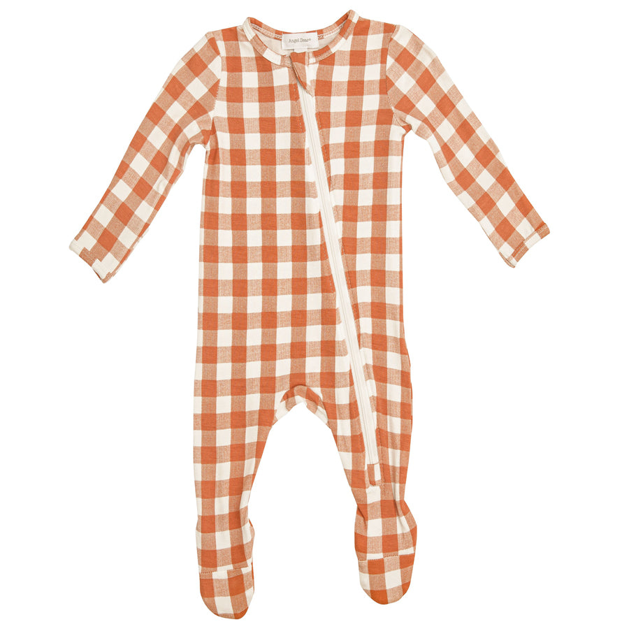 Gingham Pumpkin Zipper Footie-Angel Dear-Joanna's Cuties