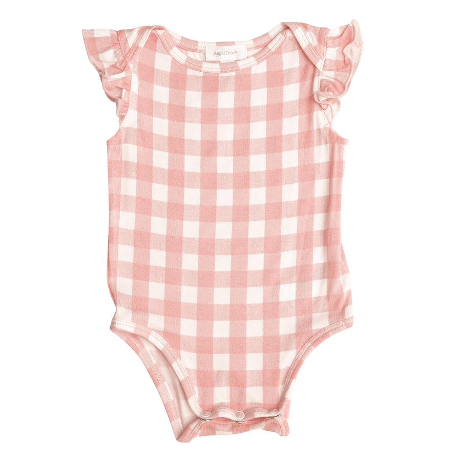 Gingham Ruffle Sleeveless Onesie