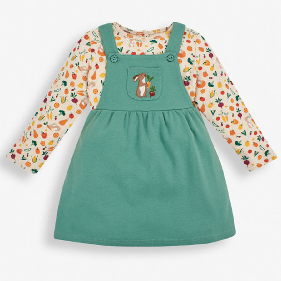 Green Bunny Pinafore Set - 2-piece-JoJo Maman Bebe-Joanna's Cuties