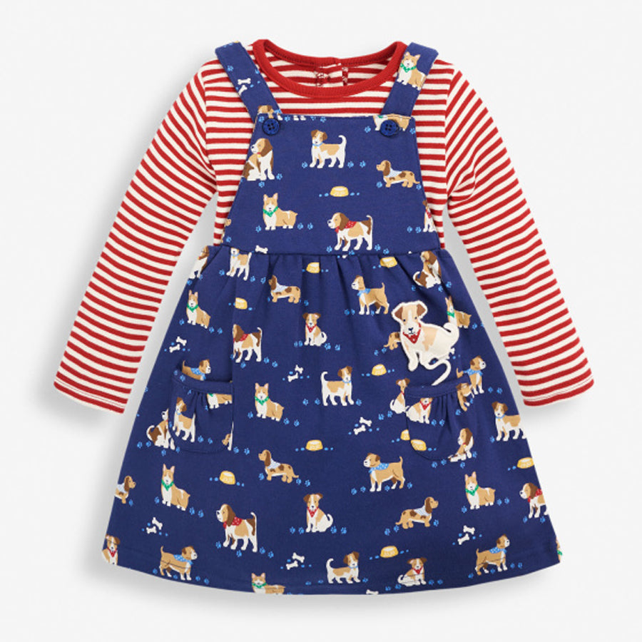 Girls 2-Piece Puppy Print Pinafore Set-JoJo Maman Bebe-Joanna's Cuties