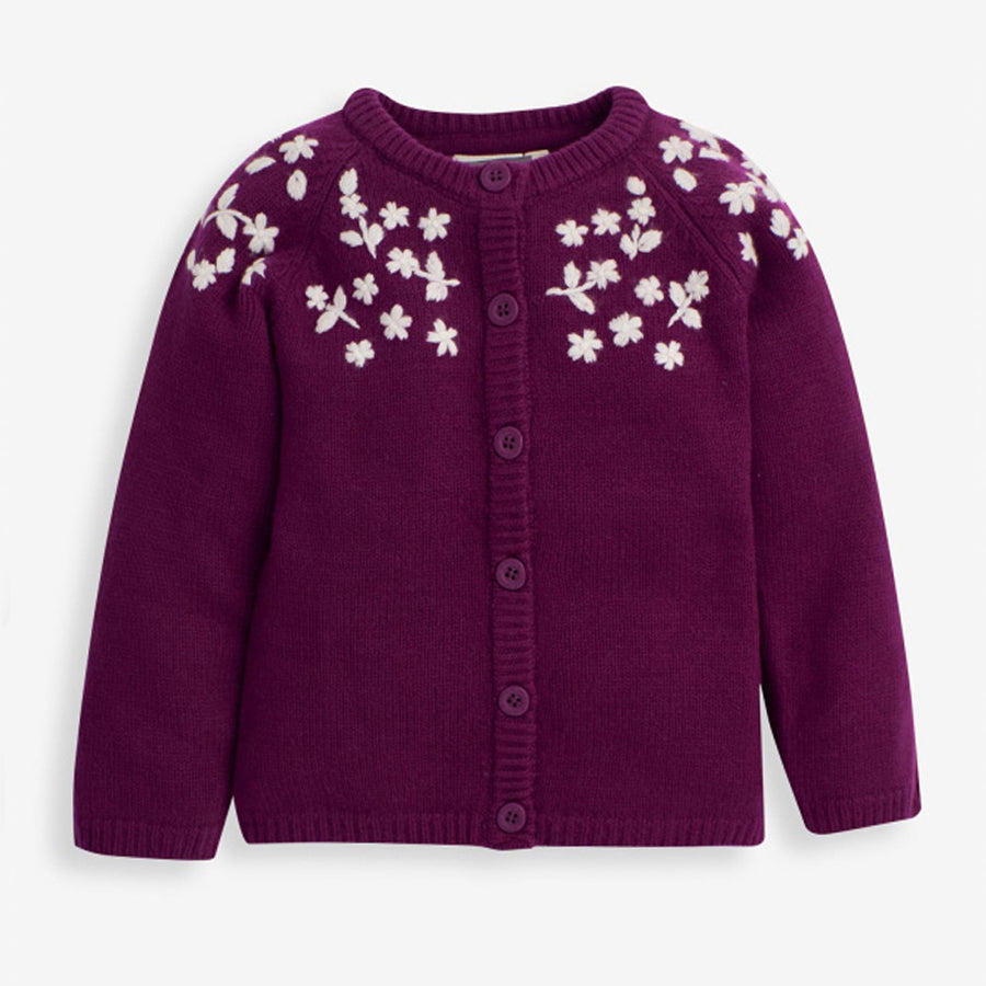 Girls Berry Floral Embroidered Cardigan