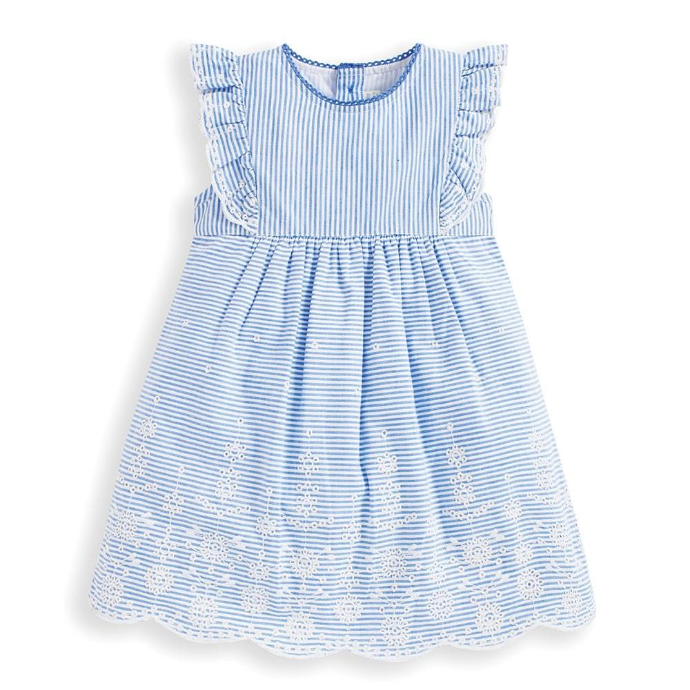 Girls' Blue Broderie Anglaise Dress - JoJo Maman Bebe - joannas-cuties