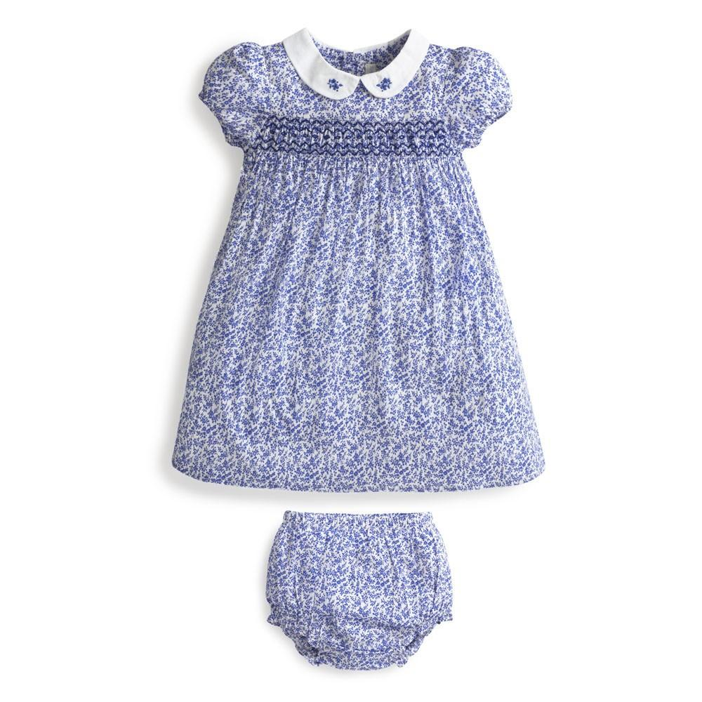 Girls' Blue Ditsy Print Smocked Dress-JoJo Maman Bebe-Joanna's Cuties