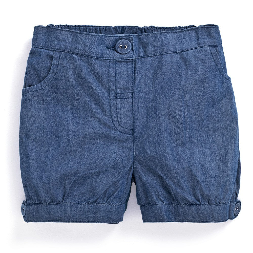 Girls' Chambray Pretty Shorts-JoJo Maman Bebe-Joanna's Cuties