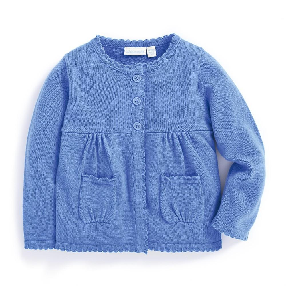 Girls' Cotton Cardigan - Cornflower - JoJo Maman Bebe - joannas-cuties