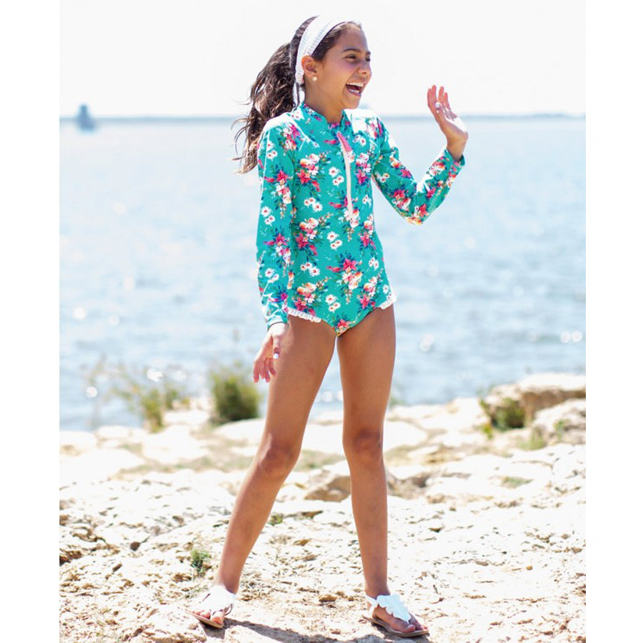 Girls Fancy Me Floral Long Sleeve One Piece Rash Guard-Ruffle Butts-Joanna's Cuties