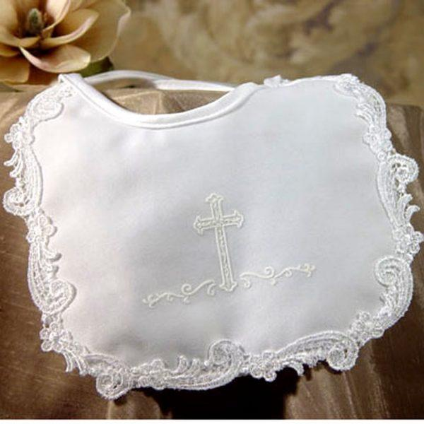Girls Matte Satin Bib with Screened Cross - Little Things Mean A Lot - joannas-cuties