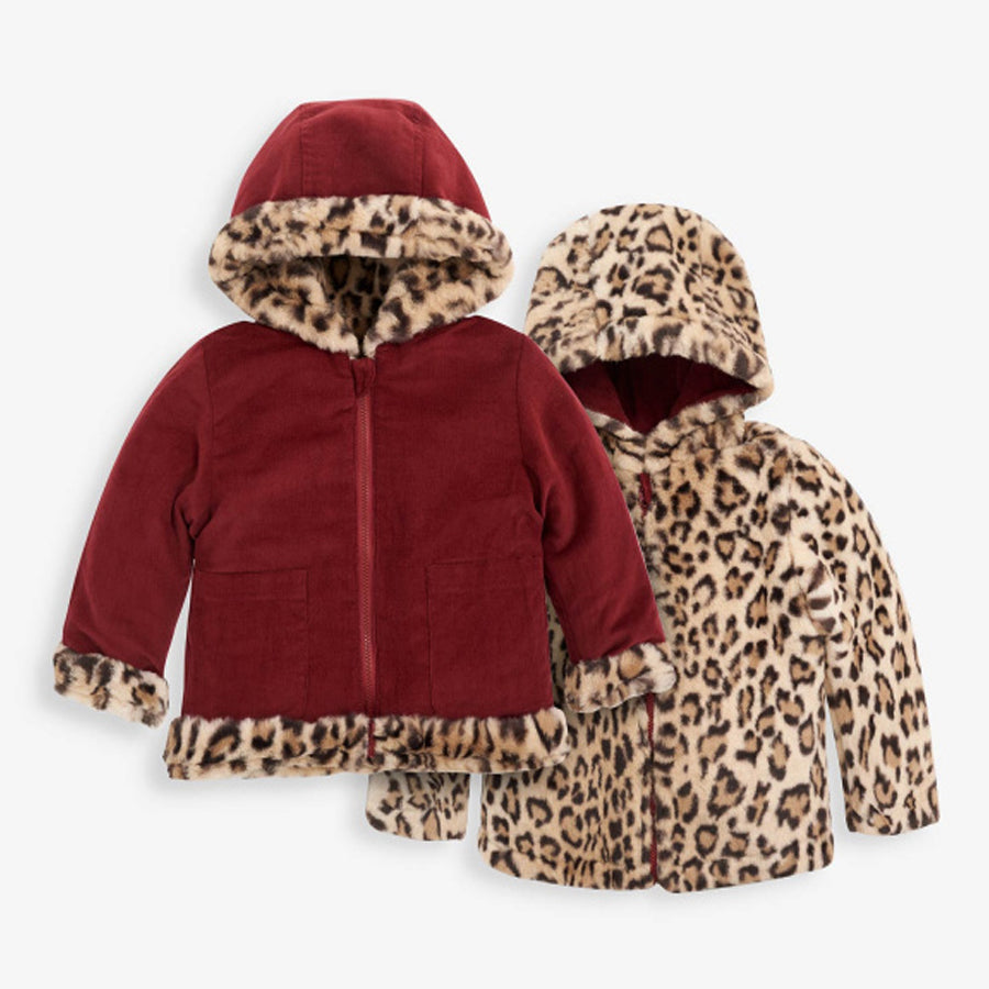 Girls' Reversible Leopard Faux Fur & Cord Jacket