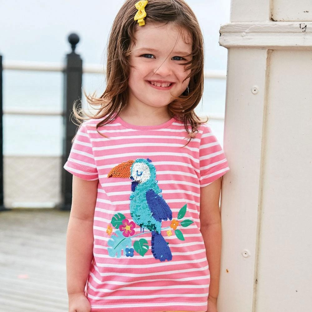 Girls' Sequin Toucan Tee - JoJo Maman Bebe - joannas-cuties