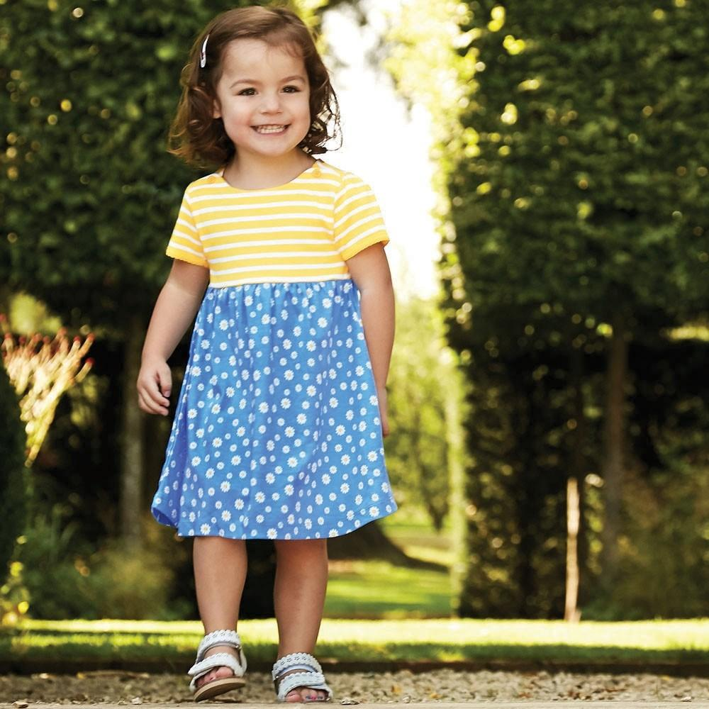 Girls' Stripe & Daisy Print Dress - JoJo Maman Bebe - joannas-cuties