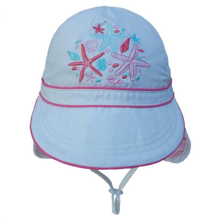 Girls UV 50+ Flap Hat - White - Calikids - joannas-cuties