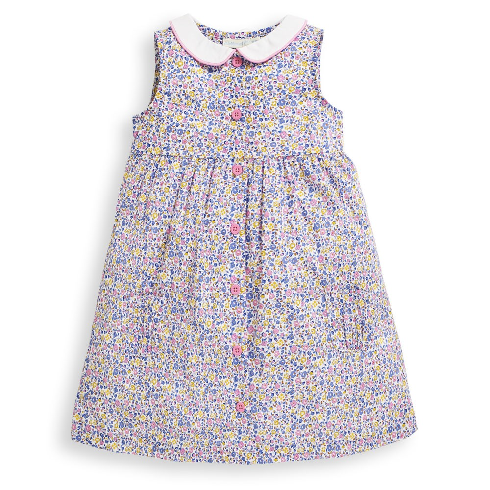 Girls' Yellow Ditsy Floral Shirt Dress-JoJo Maman Bebe-Joanna's Cuties