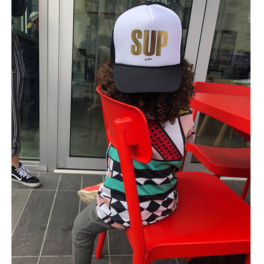 Gold Foil SUP Black/White Trucker Hat-Bubu-Joanna's Cuties