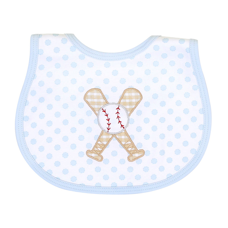 Grand Slam Applique Blue Bib-Magnolia Baby-Joanna's Cuties