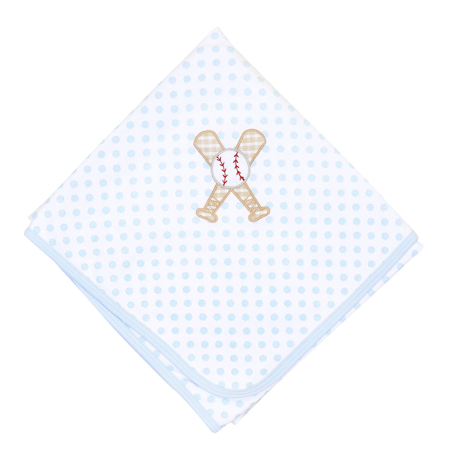 Grand Slam Applique Blue Receiving Blanket
