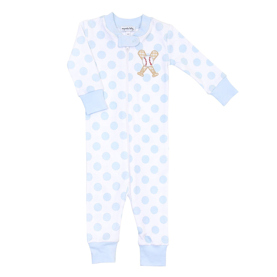 Grand Slam Applique Blue Zipped Pajama