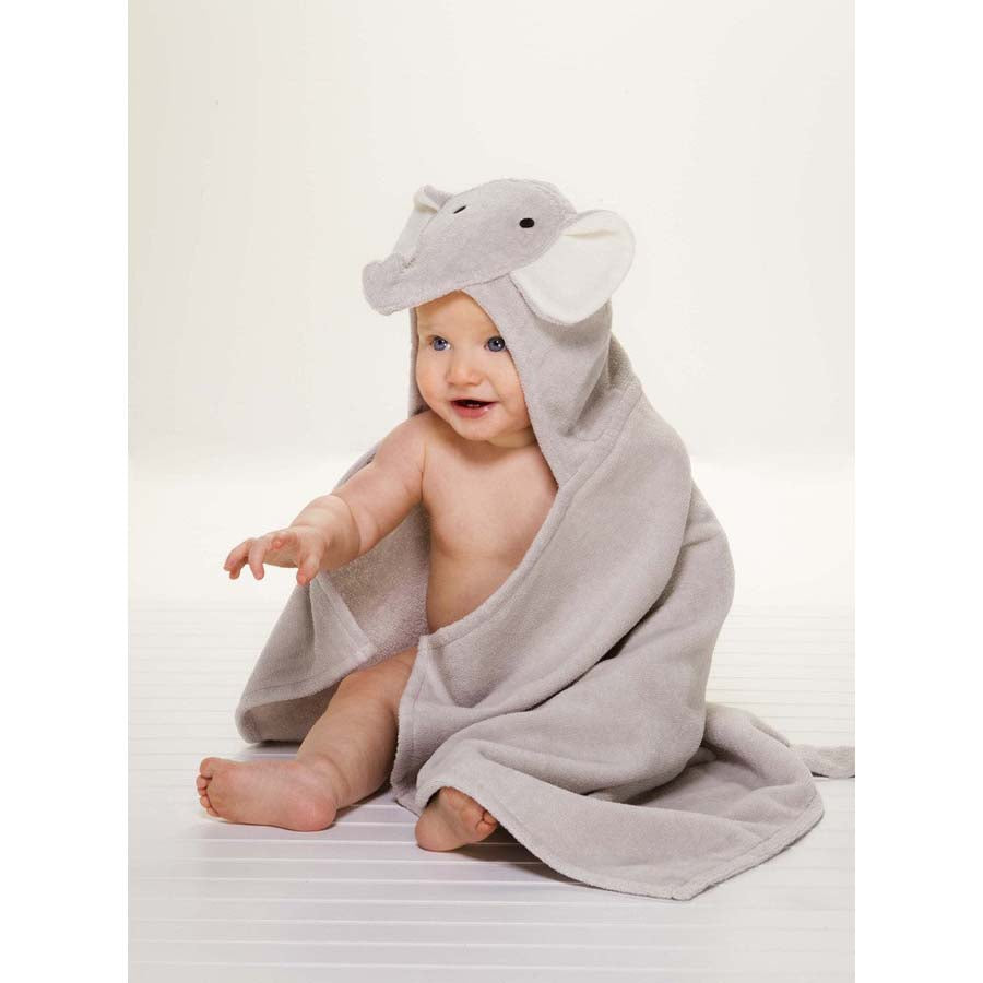 Gray Elephant Hooded Baby Bath Wrap-Elegant Baby-Joanna's Cuties