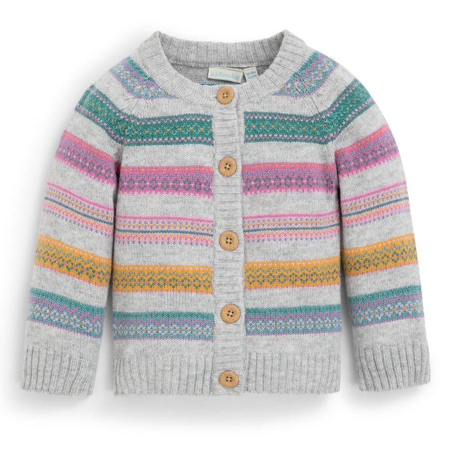 Gray Fair Isle Stripe Cardigan - JoJo Maman Bebe - joannas-cuties