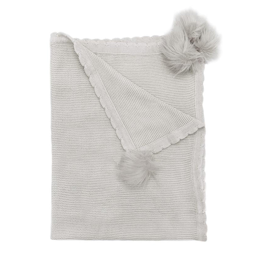 Gray Pom Pom Cotton Baby Blanket-Mon Ami-Joanna's Cuties