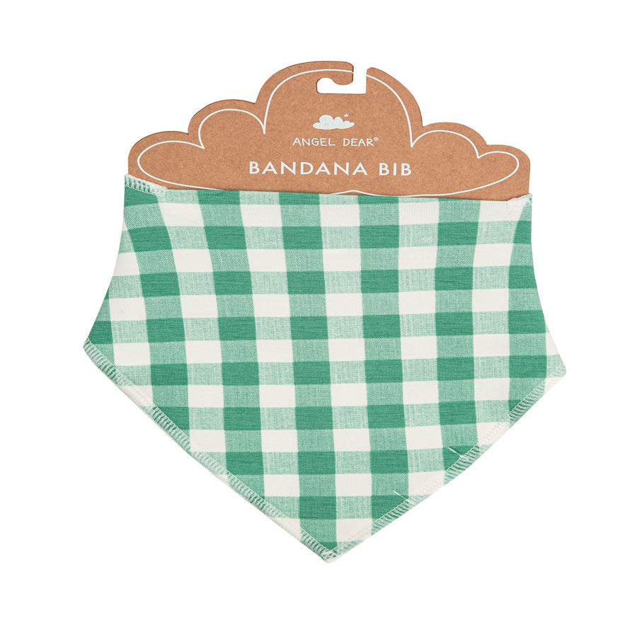 Green Gingham Bandana Bib-Angel Dear-Joanna's Cuties