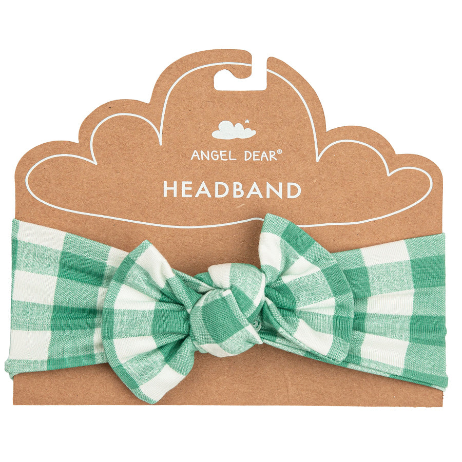Green Gingham Headband-Angel Dear-Joanna's Cuties