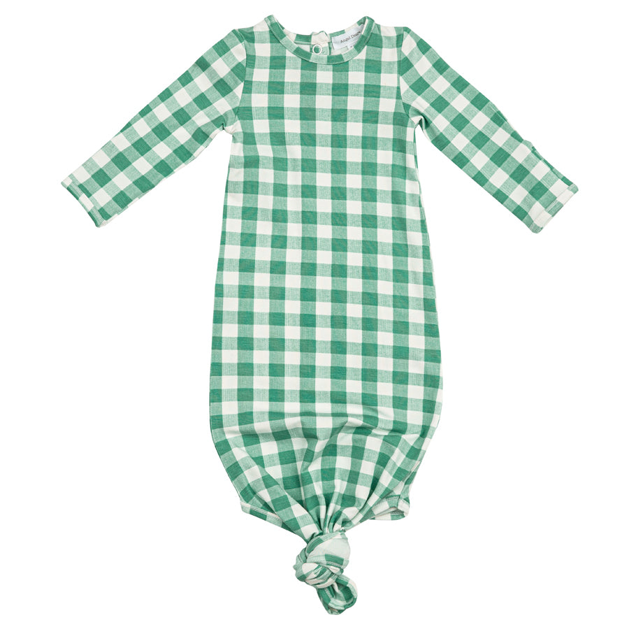 Green Gingham Knotted Gown-Angel Dear-Joanna's Cuties