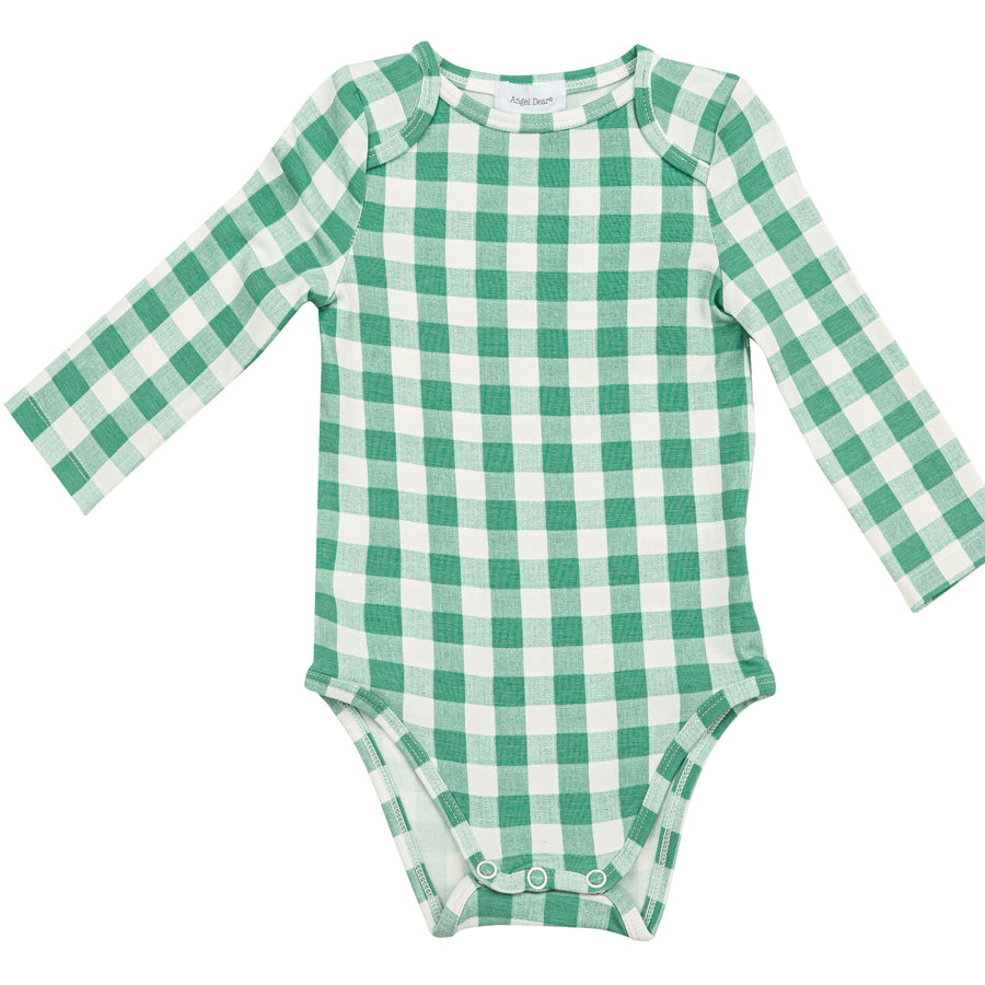 Green Gingham Lap Shoulder Onsie-Angel Dear-Joanna's Cuties