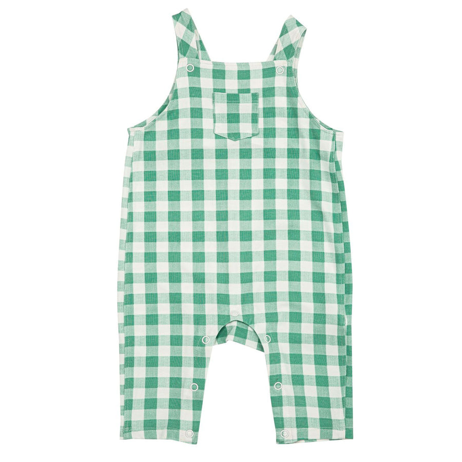 Green Gingham Pocket Coveralls-Angel Dear-Joanna's Cuties