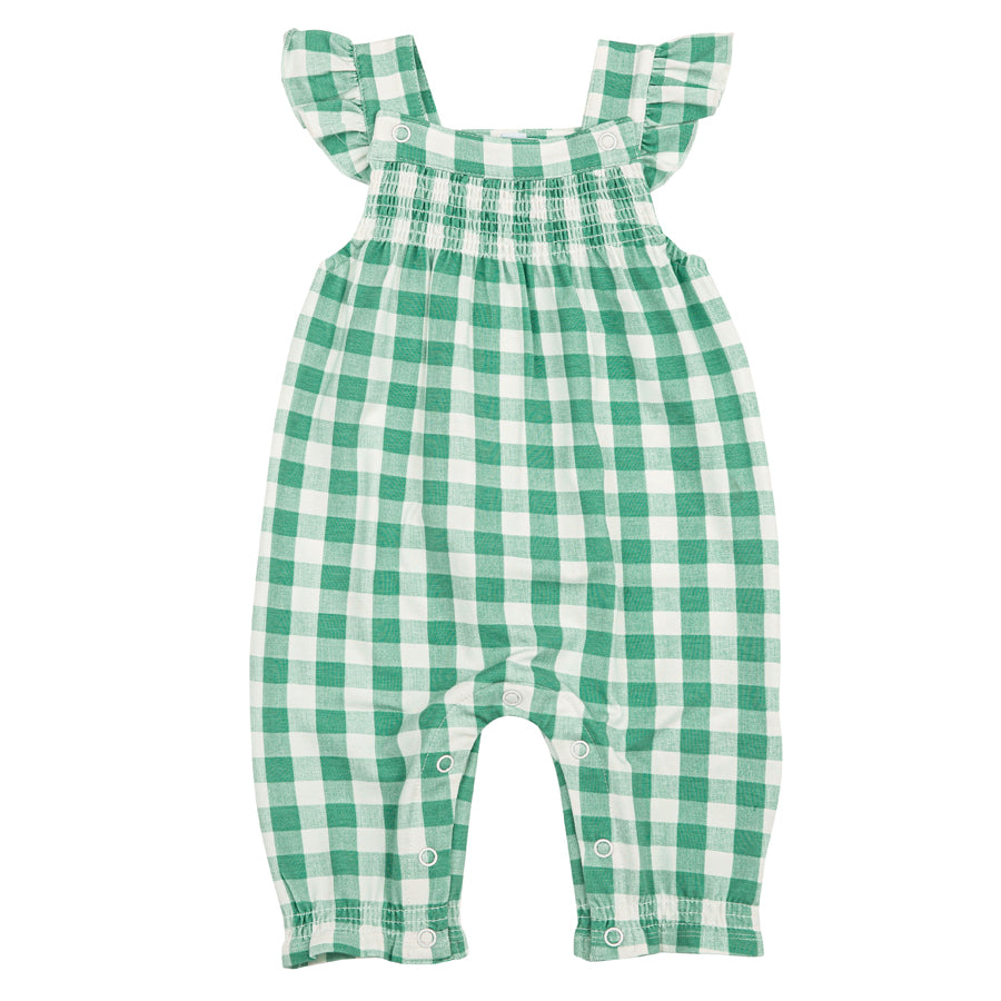 Green Gingham Smocked Front Coverall