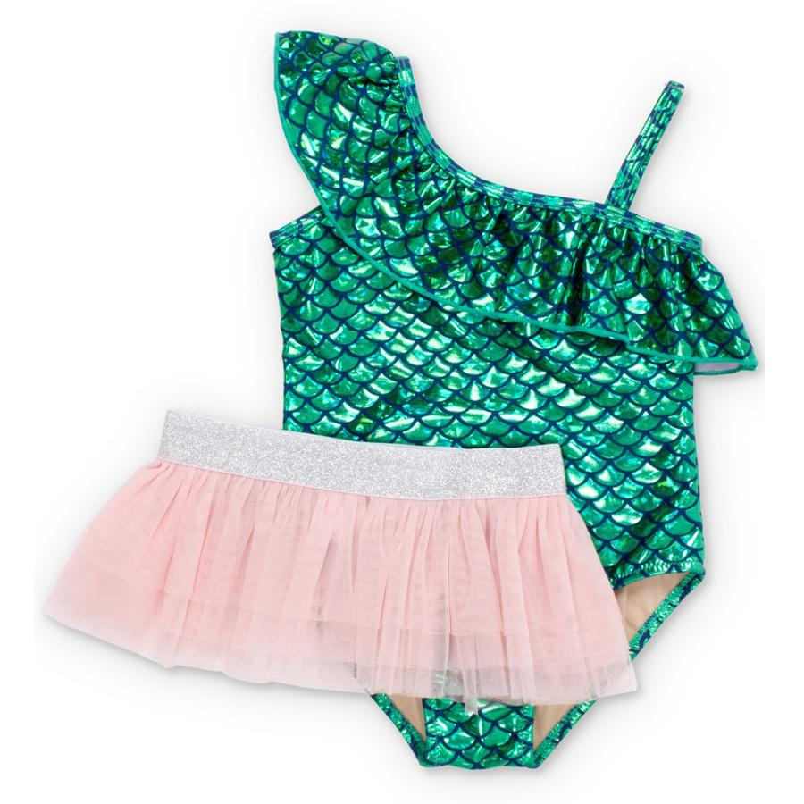 Green Metallic Mermaid One Shoulder Swimsuit Set - Shade Critters - joannas-cuties